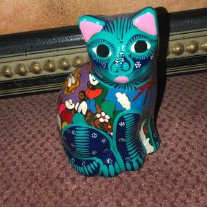 Painted Clay Cat. Psychedelic colors & designs